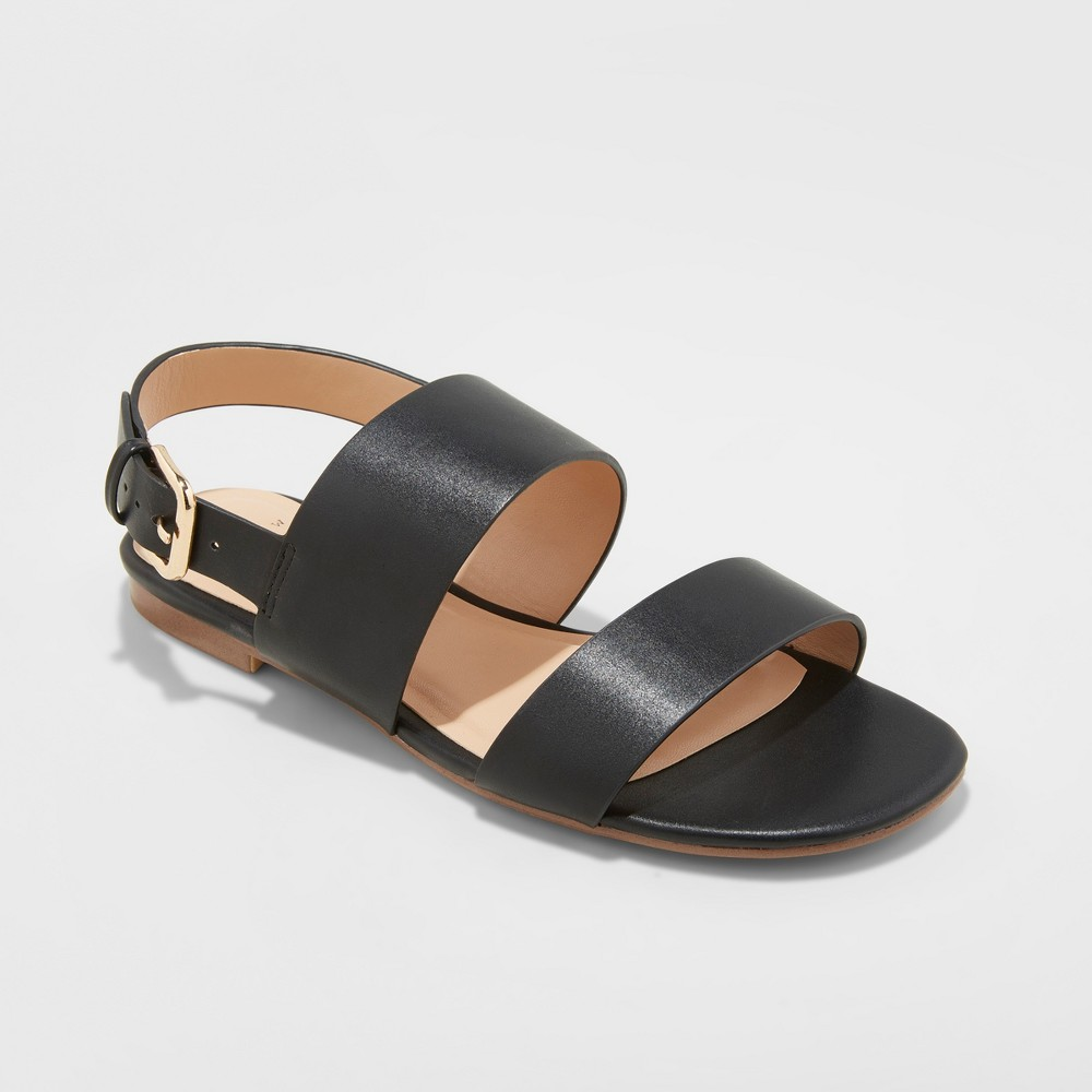 Women's Sabrina Wide Width Two Band Buckle Slide Sandals - A New Day Black 7, Size: 7Wide