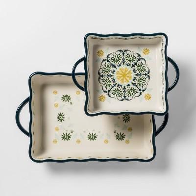 2pk Stoneware Indo with Scallop Bakeware Set - Opalhouse™