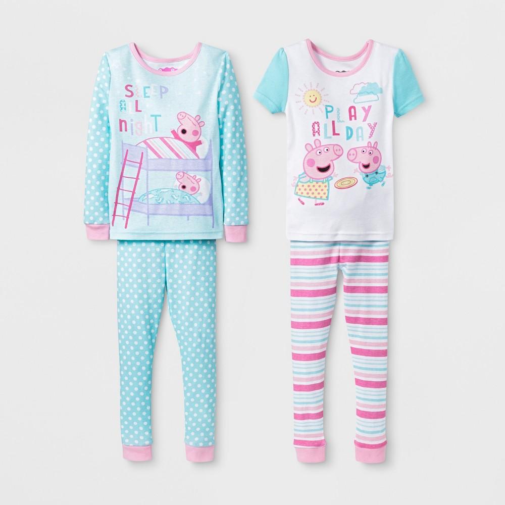 Toddler Girls' Peppa Pig 4pc Pajama Set - Aqua/Pink 5T, Blue