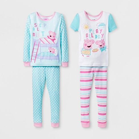 42c96e00b2cf Toddler Girls  Peppa Pig 4pc Cotton Pajama Set - Aqua   Target
