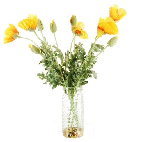 Artificial poppy arrangement yellow 22 lcg florals target about this item mightylinksfo