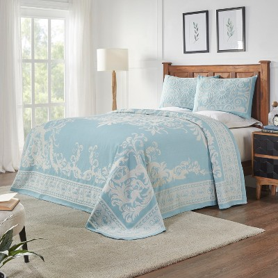 Traditional Medallion Lightweight Textured Woven Jacquard Cotton Blend 3-Piece Bedspread Set, King, Aqua - Blue Nile Mills