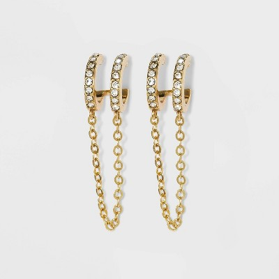 SUGARFIX by BaubleBar Double Hoop Stud Earrings with Chain - Clear