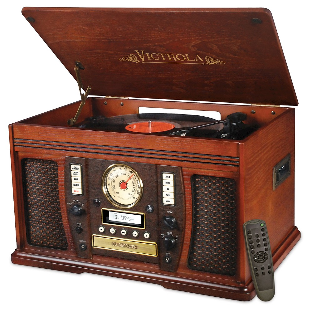 Victrola Aviator Wooden 7-in-1 Nostalgic Record Player with Bluetooth and Digital CD Encoding, Mahogany The beautifully crafted Victrola Aviator 7-in-1 wooden record player combines modern technology with a nostalgic design. Its ideal for people who value the original quality of vinyl and cassette tape music, but also enjoy the latest in technology. It conveniently records all your old favorite music from vinyl and cassette directly onto a CD, NO computer needed! The Victrola Aviator also features three-speed turntable (33 1/3, 45, 78 Rpm), powerful built-in speakers, built-in Bluetooth to wirelessly play music from your Bluetooth enabled device, CD player, cassette player, AM/FM radio, 3.5mm Aux-in jack for playing music from any non-Bluetooth device (cable included), Headphone jack, Rca Aux-in jack, and full function remote control. Model Vta-750B.