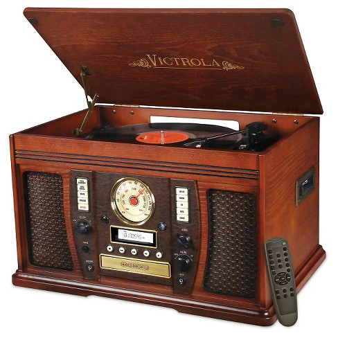 Victrola Aviator Wooden 7-in-1 Nostalgic Record Player with Bluetooth and Digital CD Encoding, Mahogany - image 1 of 1