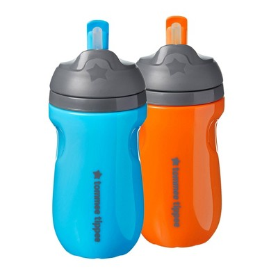 Tommee Tippee 2pk Insulated Straw Toddler Cup - Blue/Orange - 9oz