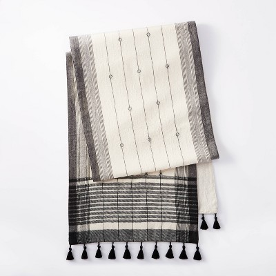 """Shop 88"""" x 14"""" Jacquard with Lace Tassels Table Runner Black/White - Threshold designed with Studio McGee from Target on Openhaus"""
