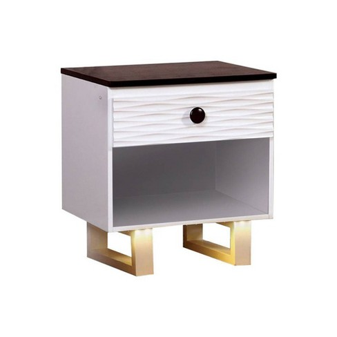 Nightstand with USB Outlet White/Dark Walnut - Benzara - image 1 of 4