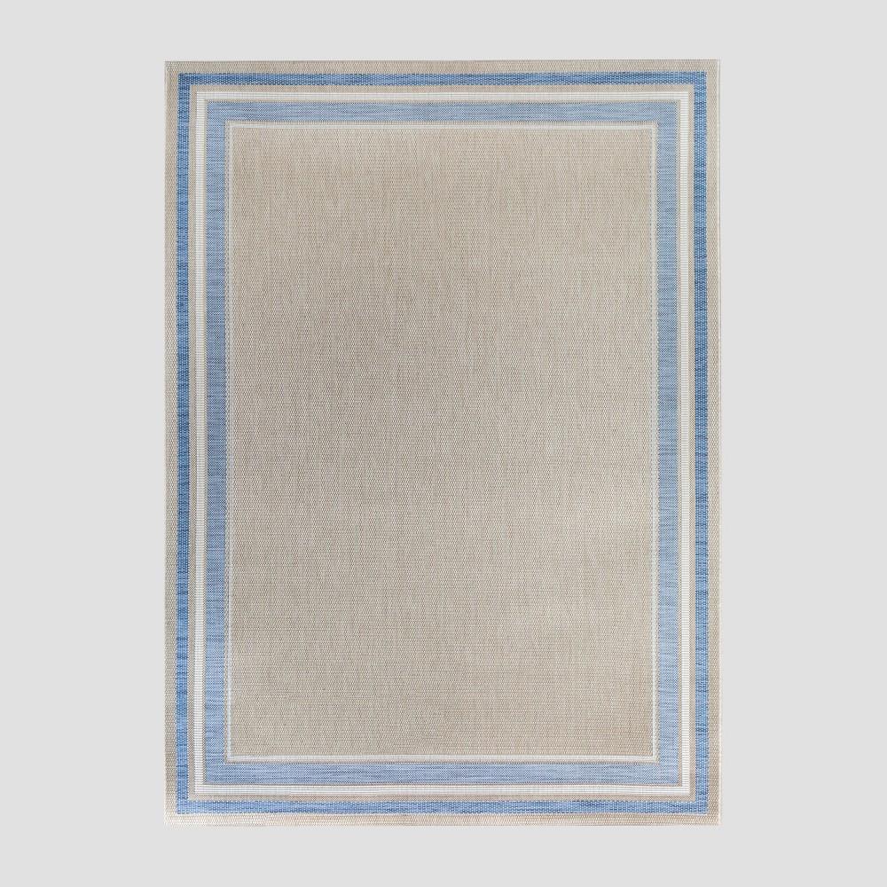 5' x 7' Tonal Border Outdoor Rug Blue - Threshold