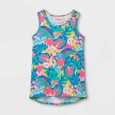 Girls' Tropical Floral Tank Top - Cat & Jack™ Blue/Pink