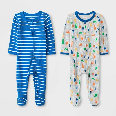 Baby Boys' 2pk Striped And All Over Print One Piece Pajamas - Cat & Jack™ Gray/Blue Newborn