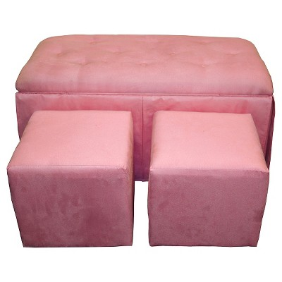 Microfiber Storage Bench with 2 Matching Ottomans Pink - Ore International