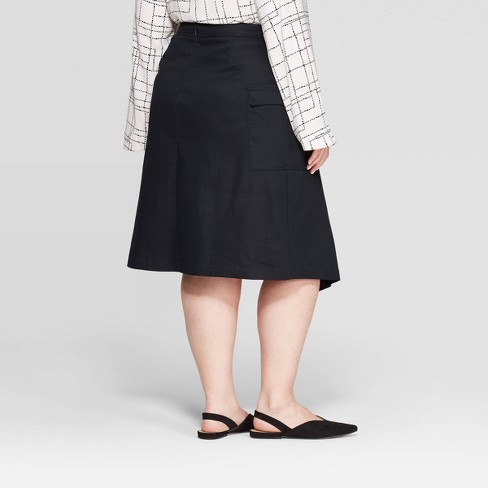 d3a4d9b281e97b Women's Plus Size Mid-Rise Front Tie Wrap Skirt - Prologue™ Black ...