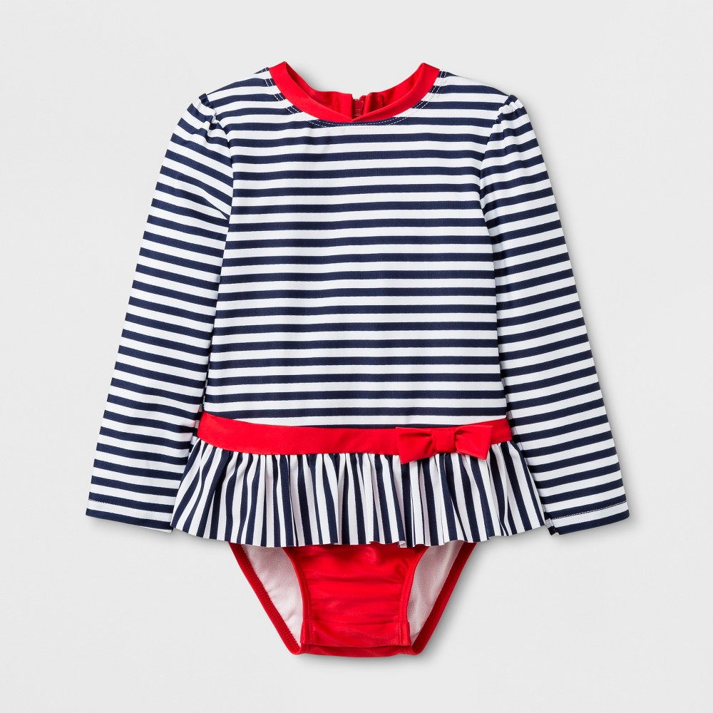 Toddler Girls' Stripe One Piece Swimsuit - Cat & Jack Navy/White 5T, Blue