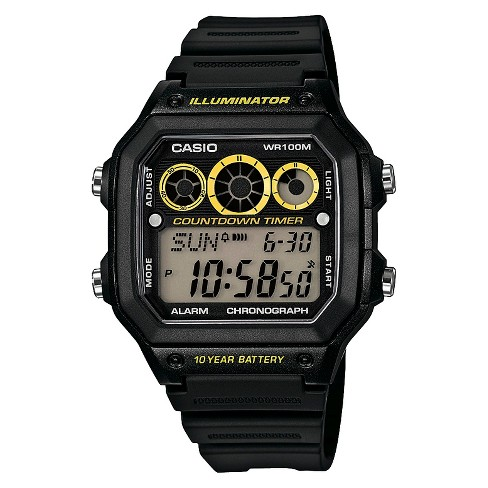 Casio Men's Classic Digital Watch with Yellow Accents - Black (00WH-1AVCF) - image 1 of 1