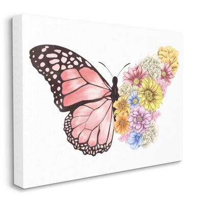 Stupell Industries Butterfly Floral Bouquet Wing Collage Spring Pink Yellow