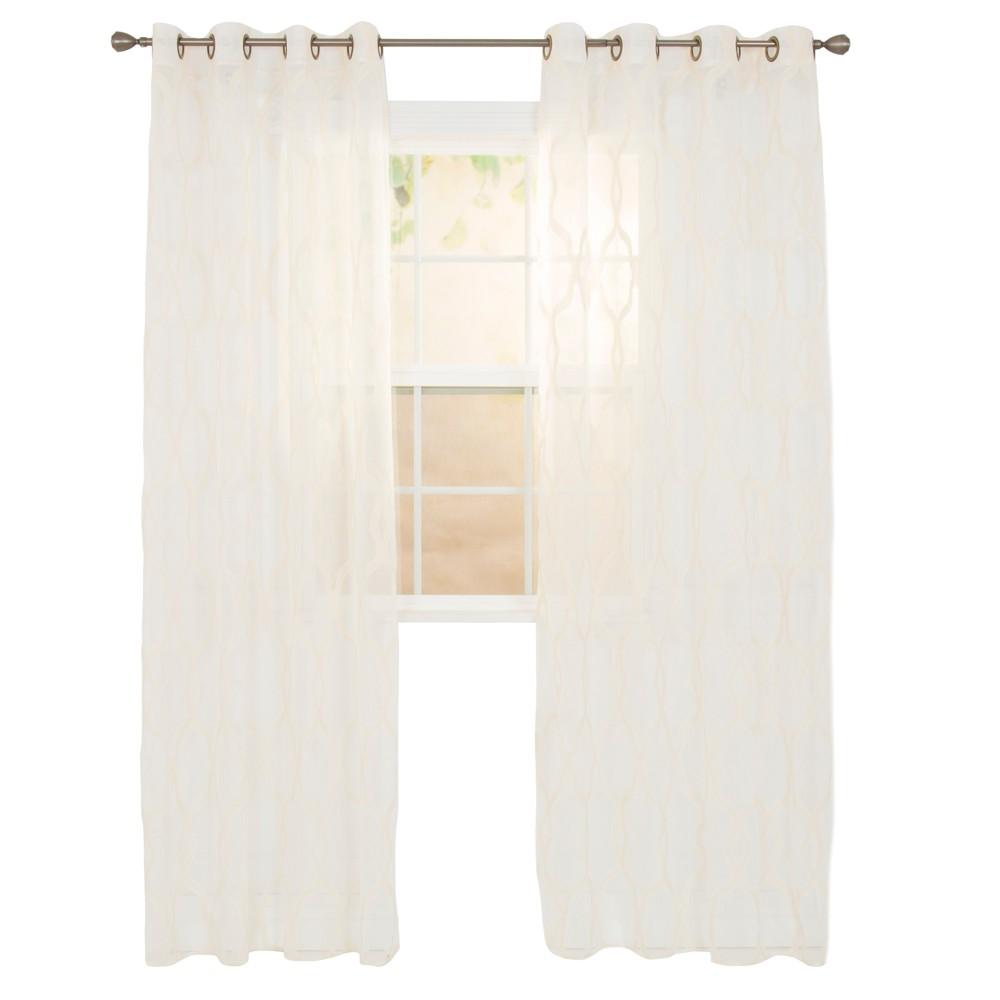 Elisa Embroidered Curtain Panel Beige 95