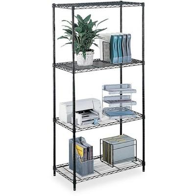 "Safco Wire Shelving w/ 4 Shelves/4 Posts 500Lb Cap 48""x18""x72"" BK 5241BL"