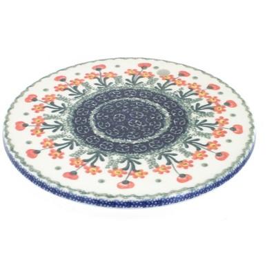 Blue Rose Polish Pottery Peach Posy Trivet
