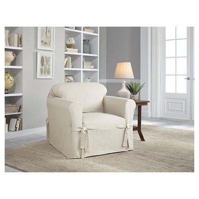 Relaxed Fit Duck Furniture Chair Slipcover Natural - Serta