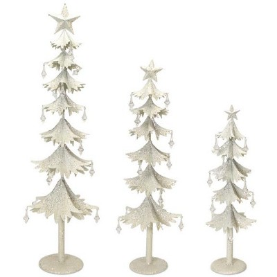 """Melrose Set of 3 White and Clear Gem Accented Tabletop Christmas Tree 33"""""""