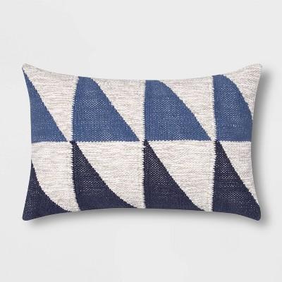 Color Blocked Geometric Lumbar Throw Pillow Blue - Project 62™