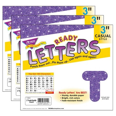 """3pk 3"""" 140 per Pack Casual Uppercase Ready Letters Purple Sparkle - TREND"""