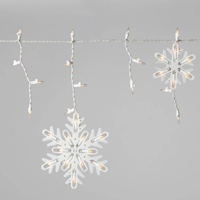 Christmas Incandescent Snowflake Icicle Novelty 150 Lights Clear with White Wire - Wondershop™