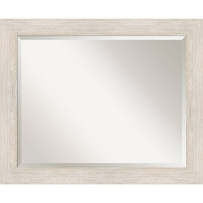 "33"" x 27"" Hardwood Framed Bathroom Vanity Wall Mirror Whitewash - Amanti Art"
