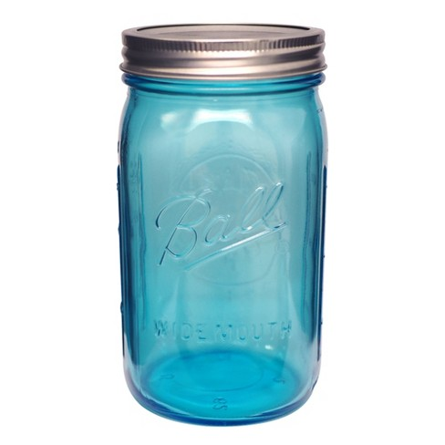 Ball 4ct Collection Elite Glass Mason Jar With Lid And Band Blue