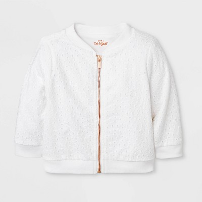 Baby Girls' Eyelet Bomber Jacket - Cat & Jack™ White 18M