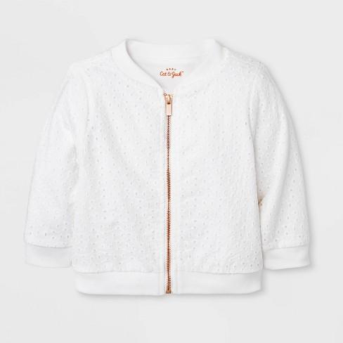 b50bf02cf9e7 Baby Girls  Eyelet Bomber Jacket - Cat   Jack™ White   Target