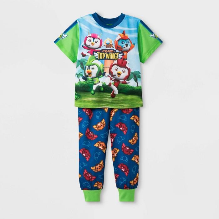 Toddler Boys' Top Wing 2pc Pajama Set - Green/Navy - image 1 of 2