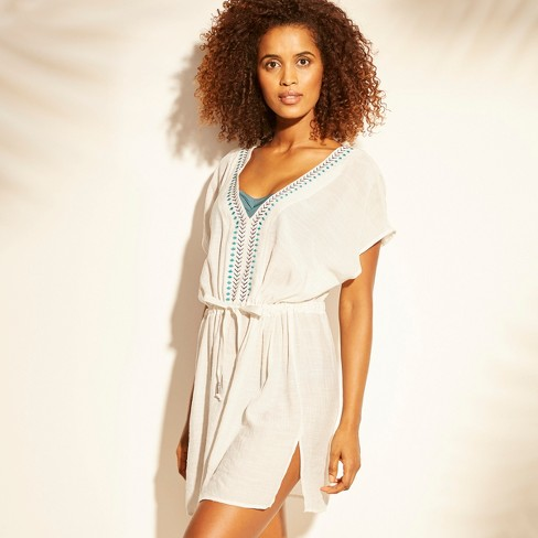 Women's Embroidered Cover Up - Kona Sol™ White - image 1 of 2