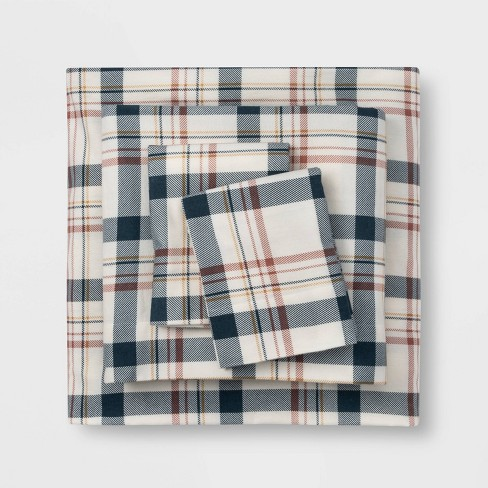 Queen Printed Pattern Fall Flannel Sheet Set Cool Plaid Threshold Target