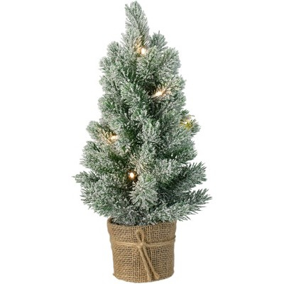 Northlight 17-Inch Mini Artificial Tabletop LED Flocked Christmas Tree with Burlap Base- Clear Lights