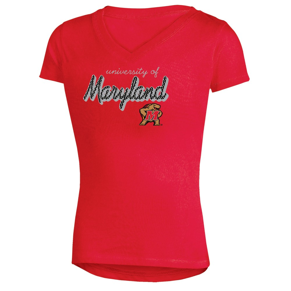 Maryland Terrapins Girls' Short Sleeve Bright Lights V-Neck T-Shirt XS, Multicolored