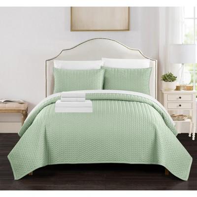 Chic Home Larsson Geometric Chevron Decorative Pillows & Shams 7 Piece - Green
