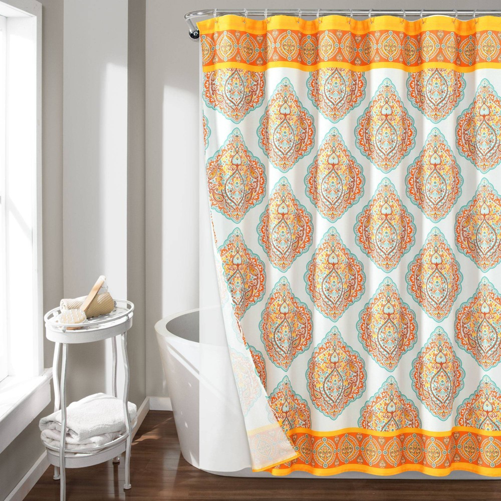 Image of 14pc Harley Shower Curtain with Peva Lining and Rings Set Orange - Lush Decor