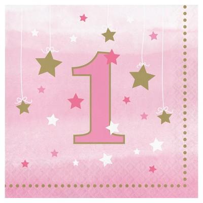 16ct One Little Star Girl 1st Birthday Napkins