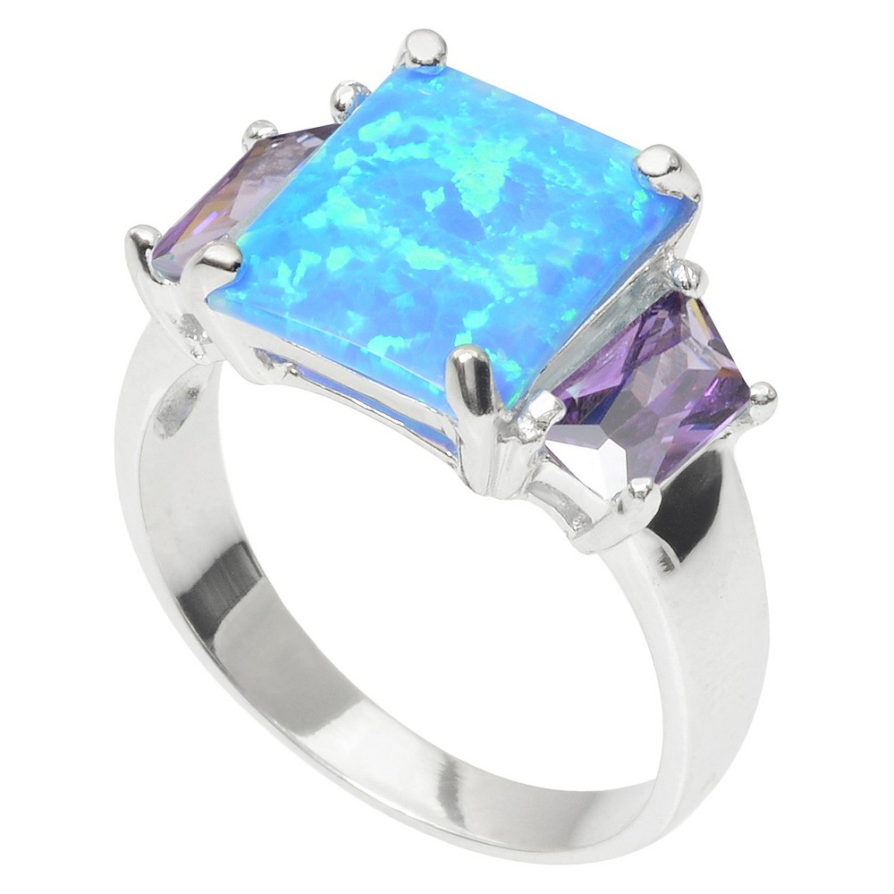 1 1/8 CT. T.W. Journee Collection Baguette Cut CZ Ring in Sterling Silver - Blue/Purple (5)