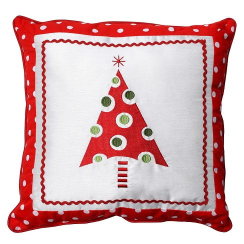 "Pillow Perfect Framed Christmas Tree Throw Pillow - 16.5""x16.5"" - Multicolored - image 1 of 1"