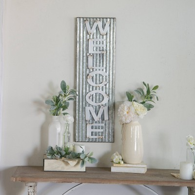 Welcome Wall Décor White & Silver (10 x32 )- VIP Home & Garden