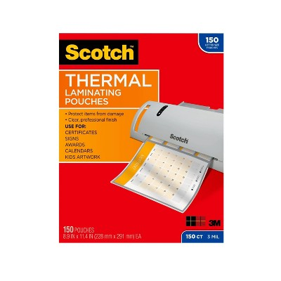 Scotch 150ct Thermal Pouches Letter Size 3mm