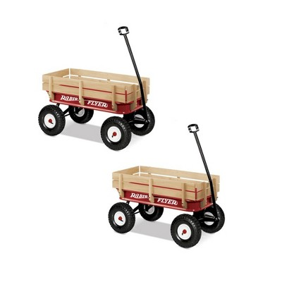 Radio Flyer Full Size All Terrain Classic Steel & Wood Pull Along Wagon (2 Pack)
