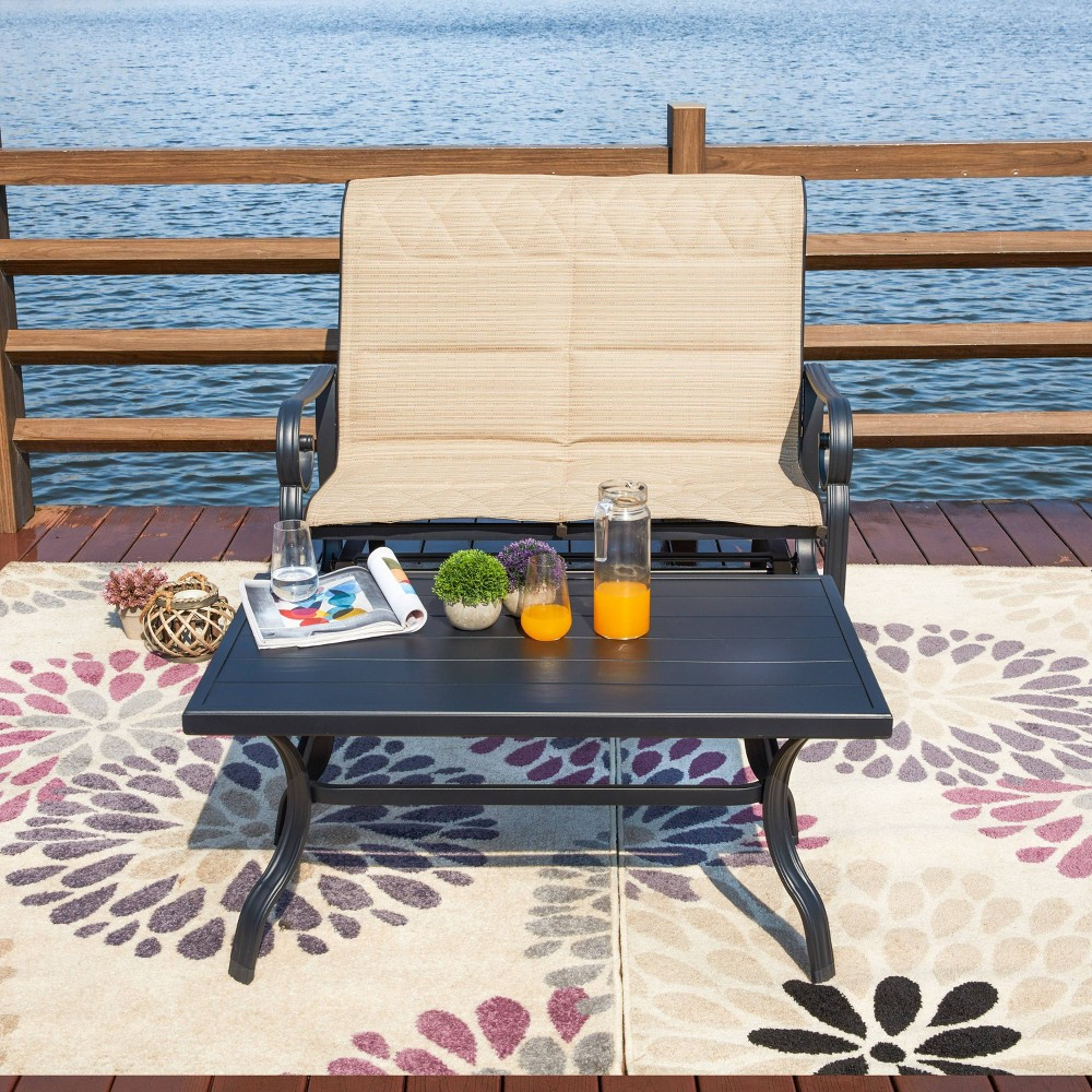 Made of iron, this bench is sturdy and durable. With back and seat padded cushion-like fabric, you will get an extremely comfortable seat, while the paired table provides a convenient place to set down drinks and snacks. This Strausbaugh 2 Piece Sofa Seating Group with Cushions glider bench set will let you and your friends sit back, relax and enjoy your outdoor time. It is perfect for your patio, garden, lawn, backyard and poolside. Simple assemble need and all the hardware are included. Gender: unisex.