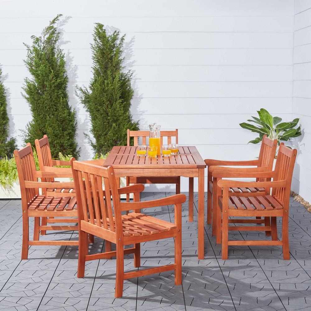 Vifah Malibu Eco-Friendly 7-Piece Wood Outdoor Dining Set - Brown