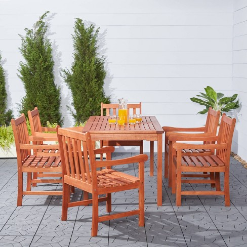 Vifah Malibu Eco Friendly 7 Piece Wood Outdoor Dining Set Brown