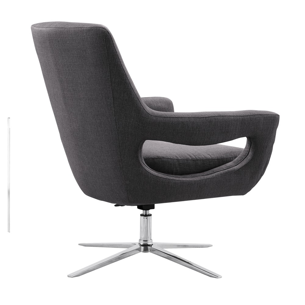 Armen Living Quinn Contemporary Adjustable Swivel Accent Chair Gray