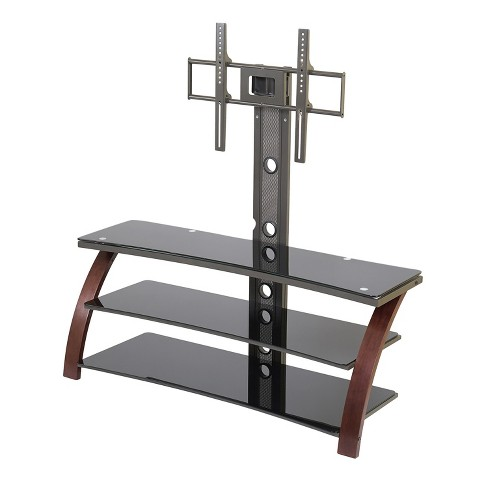 55 Tv Stand With Back Post Mount Espresso Black Glass Homenations